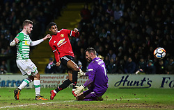 Marcus Rashford of Manchester United scores his sides first goal - Rogan/JMP - 26/01/2018 - FOOTBALL - Huish Park - Yeovil, England - Yeovil Town v Manchester United - FA Cup Fourth Round.