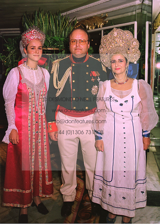 Left to right, COUNTESS LIUBOU TOLSTOY-MILOSLAVSKY and her parents COUNT & COUNTESS ANDREI TOLSTOY-MILOSLAVSKY, at a ball in London on 10th February 1998.MFH 5