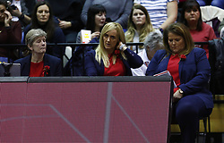 January 19, 2019 - London, England, United Kingdom - L-R Colette Thomson Performance coach Tracey Neville Head Coach and Tania Obst Assistant coach of England Roses.During Netball Quad Series Vitality Netball International match between England and South Africa at Copper Box Arena on January 19, 2019 in London, England. (Credit Image: © Action Foto Sport/NurPhoto via ZUMA Press)