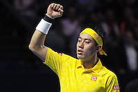 28.10.2016;  Basel; Tennis - Swiss Indoors 2016; Kei Nishikori (JPN) celebrates his victory<br /> (Steffen Schmidt/freshfocus)