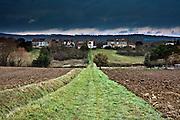 rural landscape view with a little hamlet France Languedoc FRazes