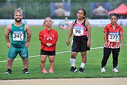 04/08/2017; Valciukas, Egidijus, F41, LTU, Struklec, Petra, F40, CRO, Vergara Quezada, Guadalupe, MEX, Cirit, Rabia, TUR at 2017 World Para Athletics Junior Championships, Nottwil, Switzerland