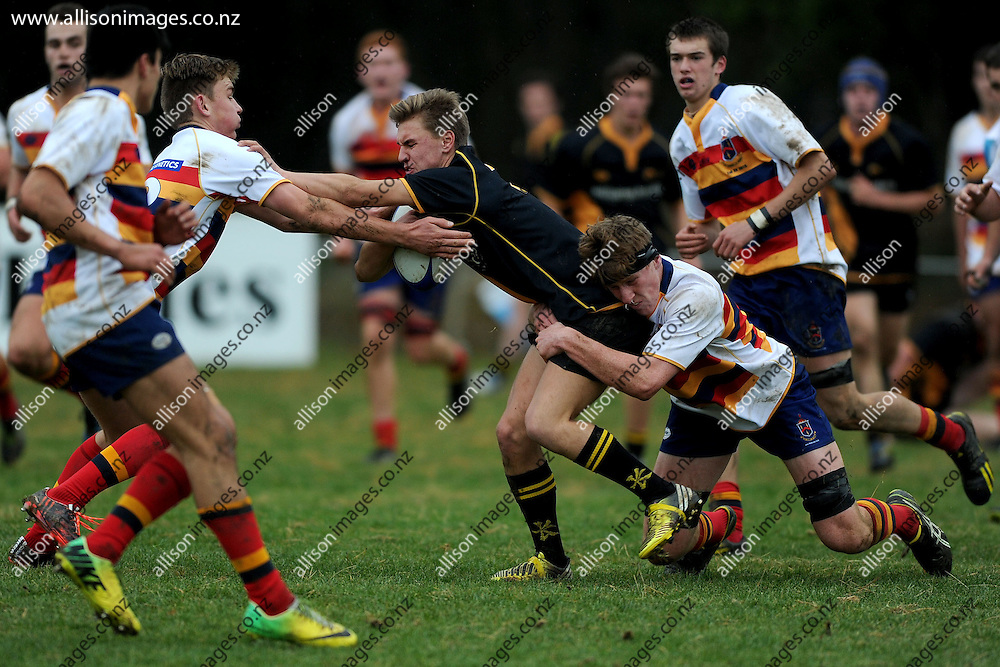 Oliver Jarvie of Mt Aspiring makes a run, during the Southern Wide Realestate 1st XV Competition match between Mt Aspiring College 1st XV and John McGlashan College 1st XV, held at John McGlashan College, Dunedin, New Zealand, 30 May 2015. Credit: Joe Allison / allisonimages.co.nz