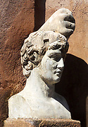 Sculpted bust of a young, clean shaven Hadrian (Roman Emperor), held at the Castel Sant'Angelo, now a museum, but also his mausoleum. Roman, circa 2nd century AD.