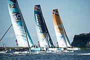 GAC Pindar, Oman Air and SAP. day two of the Cardiff Extreme Sailing Series Regatta. 23/8/2014