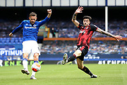Bournemouth defender Diego Rico (21) tries to block the cross fromEverton midfielder Gylfi Sigurdsson (10) during the Premier League match between Everton and Bournemouth at Goodison Park, Liverpool, England on 26 July 2020.