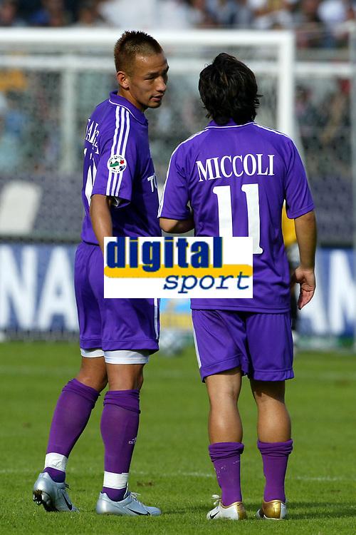 Firenze 17-10-2004<br /> <br /> Campionato  Serie A Tim 2004-2005<br /> <br /> Fiorentina siena<br /> <br /> nella  foto Hidetoshi Nakata (L), Fabrizio Miccoli (R) Fiorentina<br /> <br /> Foto Snapshot / Graffiti