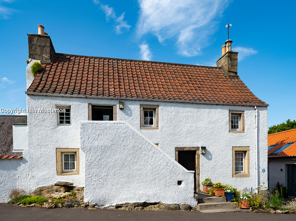 Old whitewashed house in historic village of Falkland in Fife, Scotland, UK