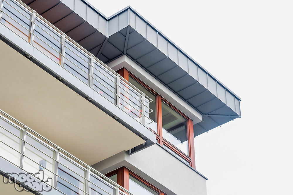 Low angle view of balcony of rental aparment business