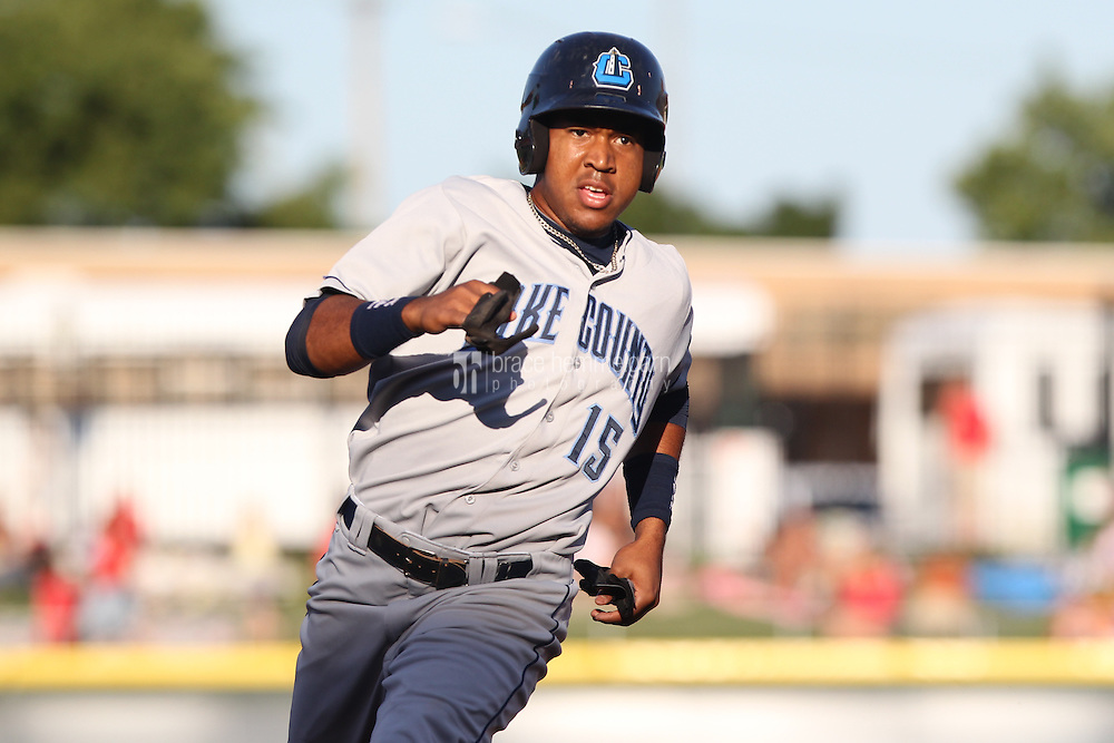 Lake County Captains first baseman Leonardo Castillo #15 runs during a game against the Dayton Dragons at Fifth Third Field on June 25, 2012 in Dayton, Ohio. Lake County defeated Dayton 8-3. (Brace Hemmelgarn)