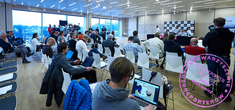 Journalist on press conference during official draw one day before the Fed Cup / World Group 1st round tennis match between Poland and Russia at Holiday Inn on February 6, 2015 in Cracow, Poland.<br /> <br /> Poland, Cracow, February 6, 2015<br /> <br /> Picture also available in RAW (NEF) or TIFF format on special request.<br /> <br /> For editorial use only. Any commercial or promotional use requires permission.<br /> <br /> Adam Nurkiewicz declares that he has no rights to the image of people at the photographs of his authorship.<br /> <br /> Mandatory credit:<br /> Photo by &copy; Adam Nurkiewicz / Mediasport