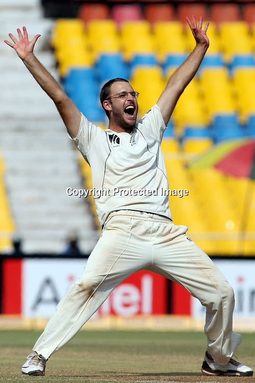 New Zealand Captain Daniel Vettori Celebrates Indian Batsman Zaheer Khan Wicket During The 1st Test India vs New Zealand Played at Sardar Patel Stadium, Motera, Ahmedabad<br /> 8 November 2010 (5-day match)
