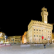 Piazza at night outside the Galleria degli Uffizi (Uffizi Gallery), in Florence (Firenze). This is a high resolution panorama.