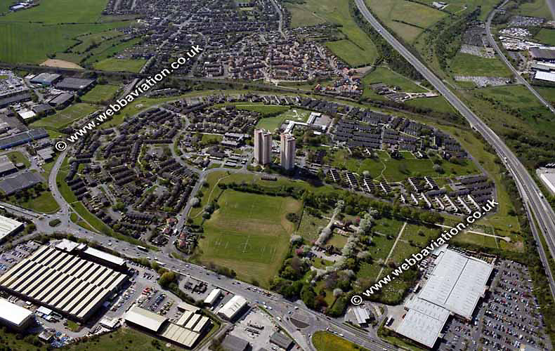 aerial photograph of  Cottingley Leeds Yorkshire England UK