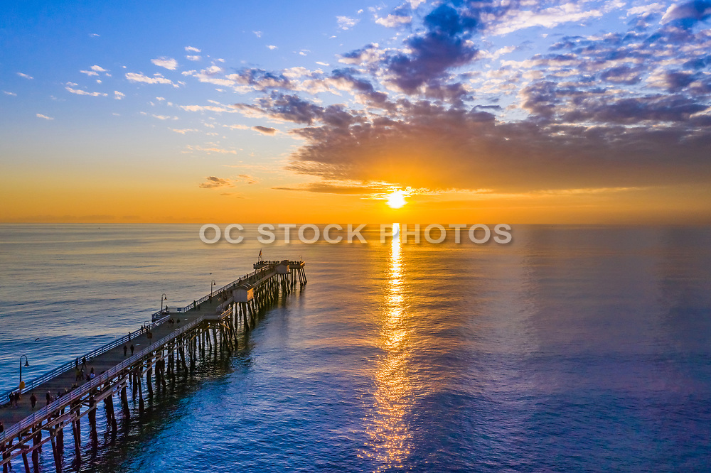 Aerial View of San Clemente Pier at Sunset