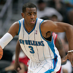 16 March 2009: New Orleans Hornets guard Chris Paul (3) drives down the court during a 95-84 loss by the New Orleans Hornets to the Houston Rockets at the New Orleans Arena in New Orleans, Louisiana.