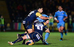 Bryce Heem of Worcester Warriors and GJ van Velze of Worcester Warriors tackle Franco van der Merwe of London Irish - Mandatory by-line: Alex Davidson/JMP - 22/12/2017 - RUGBY - Sixways Stadium - Worcester, England - Worcester Warriors v London Irish - Aviva Premiership
