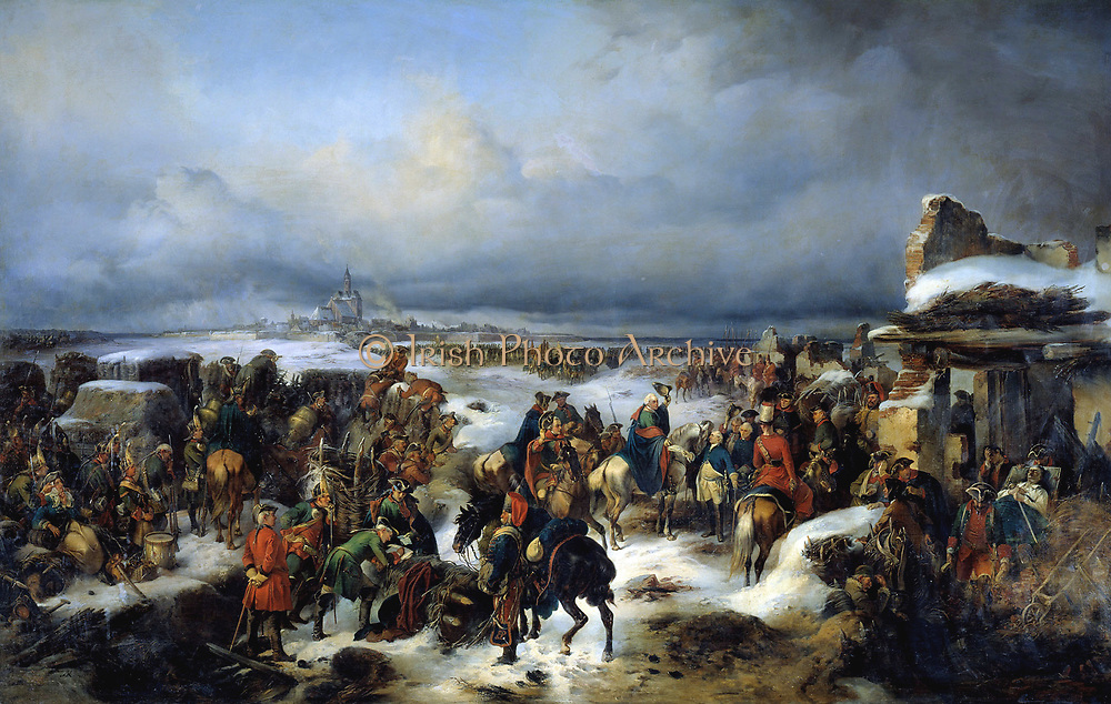 The fall of fortress Kolberg in 1761 (Seven Years' War) to Russian troops by Russian artist A. Kotsebu (1815-1889) painted in 1852. During the Seven Years' War, the Prussian-held town of Kolberg in Brandenburg-Prussian Pomerania (now Kolobrzeg) was besieged by Russian forces three times. The first two sieges, in late 1759 and from 26 August to 18 September 1760, were unsuccessful. The final siege took place from August to December 1761