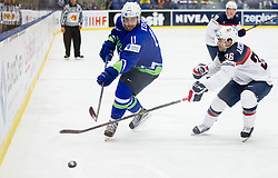 Anze Kopitar of Slovenia vs Mark Arcobello of USA during Ice Hockey match between Slovenia and USA at Day 10 in Group B of 2015 IIHF World Championship, on May 10, 2015 in CEZ Arena, Ostrava, Czech Republic. Photo by Vid Ponikvar / Sportida