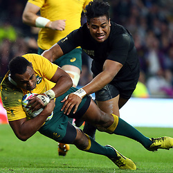 LONDON, ENGLAND - OCTOBER 31: Tevita Kuridrani of Australia over for a try as he is tackled by Julian Savea of New Zealand during the Rugby World Cup Final match between New Zealand vs Australia Final, Twickenham, London on October 31, 2015 in London, England. (Photo by Steve Haag)