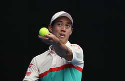 MELBOURNE, Jan. 17, 2019  Kei Nishikori of Japan competes during the men's second round match between Kei Nishikori of Japan and Ivo Karlovic of Croatia at the 2019 Australian Open in Melbourne, Australia, Jan. 17, 2019. (Credit Image: © Bai Xuefei/Xinhua via ZUMA Wire)