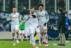 22.02.2018, Red Bull Arena, Salzburg, AUT, UEFA EL, FC Salzburg vs Real Sociedad, Sechzehntelfinale, Rueckspiel, im Bild Torjubel Salzburg nach dem 2:1 per Elfmeter durch Valon Berisha (FC Salzburg), Andre Ramalho (FC Salzburg) // during the UEFA Europa League Round of 32, 2nd Leg Match between FC Salzburg and Real Sociedad at the Red Bull Arena in Salzburg, Austria on 2018/02/22. EXPA Pictures © 2018, PhotoCredit: EXPA/ JFK