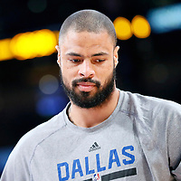 12 April 2014: Dallas Mavericks center Tyson Chandler (6) warms up prior to the Dallas Mavericks 120-106 victory over the Los Angeles Lakers, at the Staples Center, Los Angeles, California, USA.