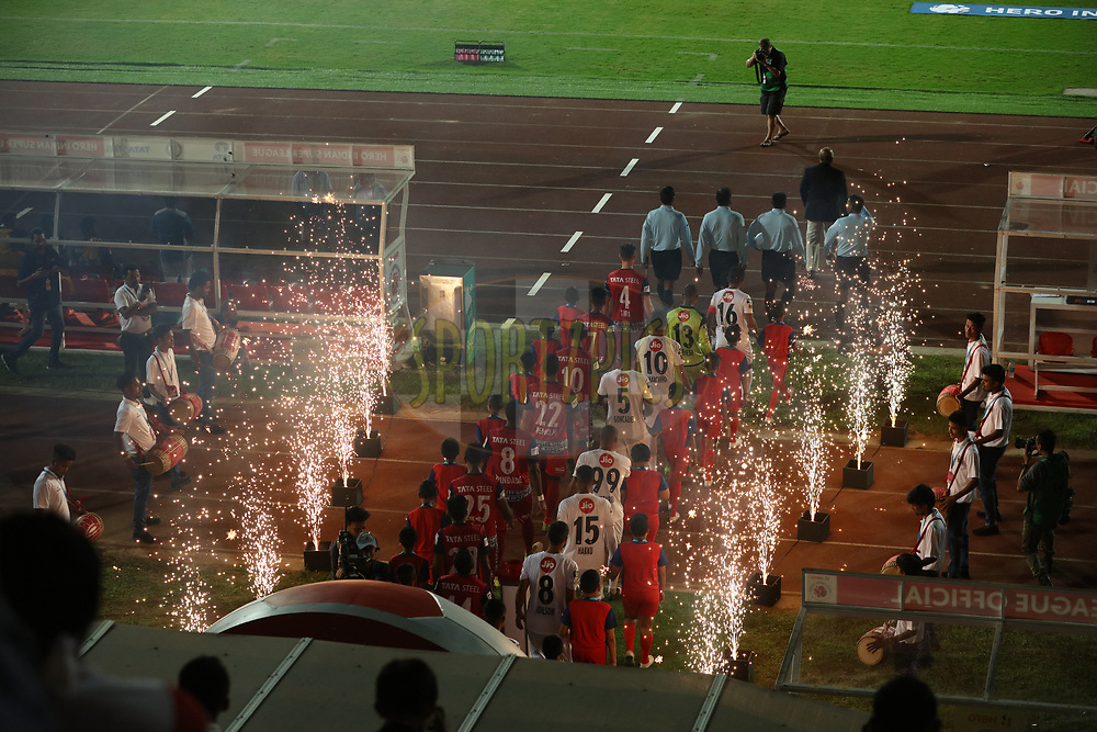 Players entering the fop during match 2 of the Hero Indian Super League between NorthEast United FC and Jamshedpur FC held at the Indira Gandhi Athletic Stadium, Guwahati India on the 18th November 2017<br /> <br /> Photo by: Saikat Das  / ISL / SPORTZPICS