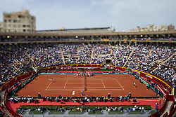 April 6, 2018 - Valencia, Valencia, Spain - (EDITORS NOTE: the image has been taken with a tilt-shift lens) General view of the match between David Ferrer of Spain and Alexander Zverev of Germany during day one of the Davis Cup World Group Quarter Finals match between Spain and Germany at Plaza de Toros de Valencia on April 6, 2018 in Valencia, Spain  (Credit Image: © David Aliaga/NurPhoto via ZUMA Press)
