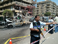 60437836  <br /> A policeman guards at the site of bombing in Cairo, Egypt, Sept. 5, 2013. Egypt's interior minister survived an assassination attempt on Thursday when a bomb blew up as his convoy drove through Cairo's Nasr City district, state media and security officials said, Cairo, Egypt, Thursday 5th,  September, 2013.<br /> Picture by imago / i-Images<br /> UK ONLY