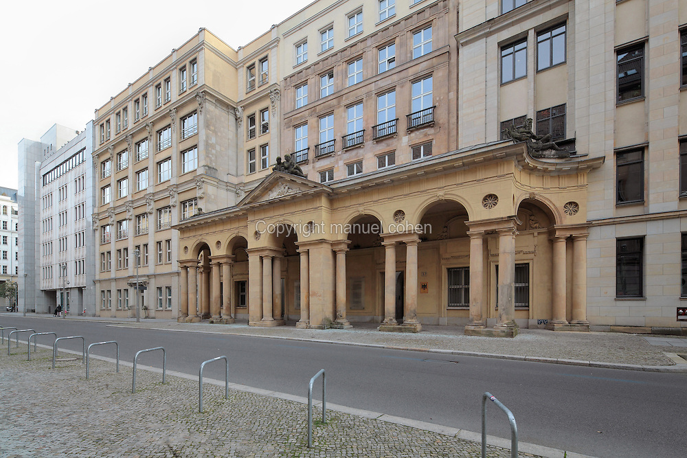 Colonnaded porticoes called Mohrenkollonaden, 18th century, originally a barracks for military musicians, some of whom were Moors, on Mohrenstrasse, Mitte, Berlin, Germany. This road was heavily bombed in the Second World War, but most of the buildings have been renovated. Picture by Manuel Cohen