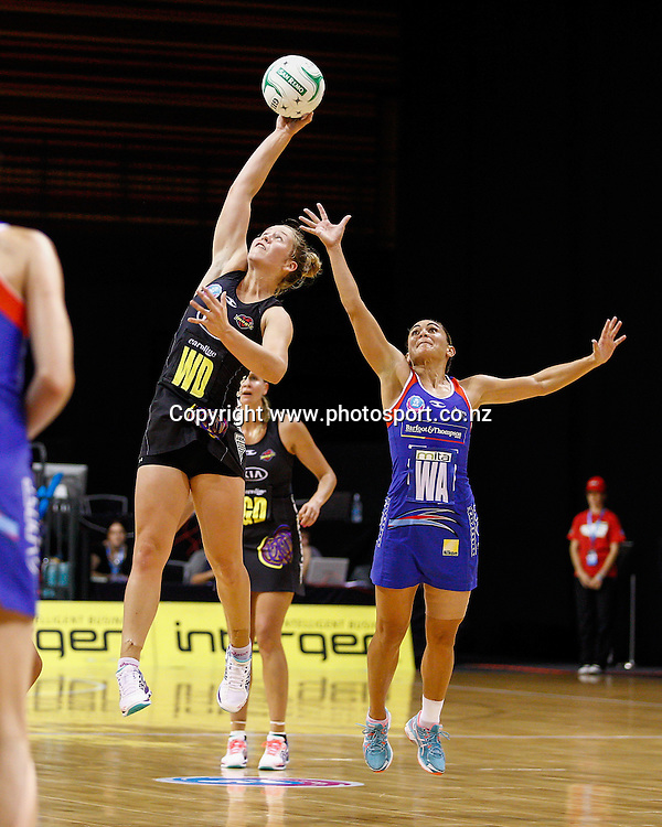 Waikato BOP Magic's Jamie Lee Price and Northern Mystic's Temepara Bailey compete for the ball during the ANZ Championship netball match - Waikato BOP Magic v Northern Mystics at Claudelands Arena, Hamilton, New Zealand on Saturday 20 April 2014.  Photo:  Bruce Lim / www.photosport.co.nz