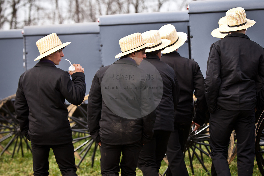 Amish men during the Annual Mud Sale to support the Fire Department  in Gordonville, PA.