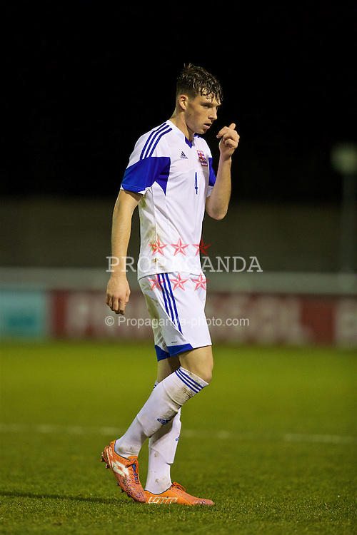 BANGOR, WALES - Tuesday, November 15, 2016: Luxembourg's Pit Simon looks dejected after being shown a red card and sent off during the UEFA European Under-19 Championship Qualifying Round Group 6 match against Wales at the Nantporth Stadium. (Pic by David Rawcliffe/Propaganda)