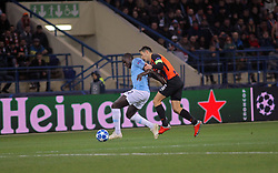 October 23, 2018 - Kharkiv, Ukraine - Midfielder Taras Stepanenko (R) of FC Shakhtar Donetsk and defender Benjamin Mendy of Manchester City FC are seen in action during the UEFA Champions League Group F Matchday 3 game at the Metalist Stadium Regional Sports Complex, Kharkiv, northeastern Ukraine, October 23, 2018. Ukrinform. /KDR/ (Credit Image: © Vyacheslav Madiyevskyy/Ukrinform via ZUMA Wire)