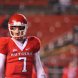 Oct 16, 2009; Piscataway, NJ, USA; Rutgers quarterback Tom Savage (7) during warmups for NCAA football action between Rutgers and Pittsburgh at Rutgers Stadium