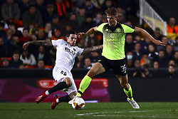 February 21, 2019 - Valencia, Spain - Santi Mina of Valencia CF  (L) in action against Kristoffer Ajer of Celtic FC (R)  during round of 32 Second leg of UEFA Europa league  match between Valencia CF vs Celtic at Mestalla Stadium on February 21, 2019. (Photo by Jose Miguel Fernandez/NurPhoto) (Credit Image: © Jose Miguel Fernandez/NurPhoto via ZUMA Press)