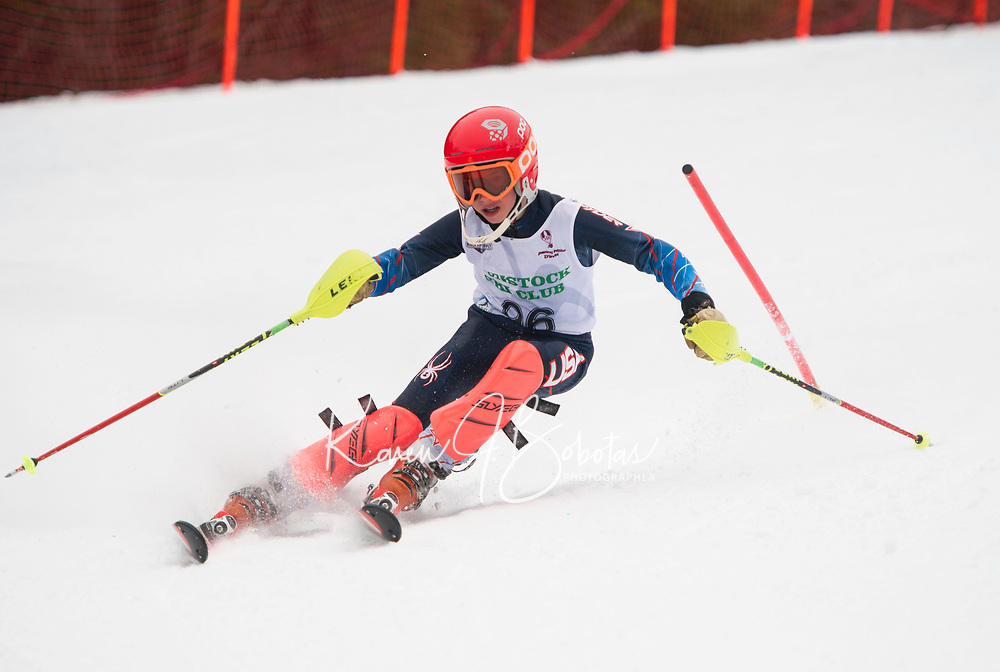 Paul Ladouceur Slalom U12 first run with Gunstock Ski Club.  <br /> &copy;2017 Karen Bobotas Photographer