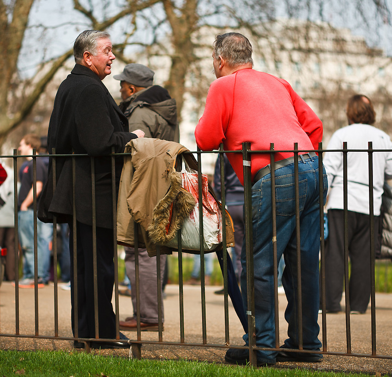 A conversation at Speaker's Corner, Hyde Park, London, England.