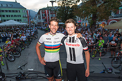 01.08.2017, Hauptplatz, Lienz, AUT, Ehrung für den dreifachen Mountainbike-Weltmeister Alban Lakata durch den Tourismusverband Osttirol, im Bild Alban Lakata (AUT) und Felix Gall (AUT) // Alban Lakata of Austria and Felix Gall of Austria during honouring of three times Mountainbike world champion in Lienz, Austria on 2017/08/01. EXPA Pictures © 2017, PhotoCredit: EXPA/ Michael Gruber