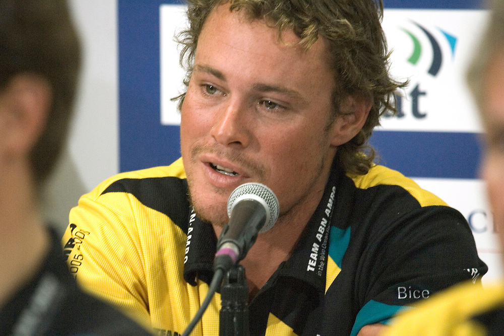 ABN Amro 2 Press Conference, 23rd May 2006. .Engineer Nick Bice (AUS) talks about the ordeal of the last few days and answers questions from the media about the death onboard of fellow crewman Hans Horrevoets on 18th May.