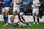 Twickenham, Surrey. UK.  Mike BROWN, celebrates, touching down during the England vs Samoa, Autumn International. Old Mutual Wealth Series. RFU Stadium, Twickenham. Surrey, England.<br /> <br /> Saturday  25.11.17  <br /> <br /> [Mandatory Credit Peter SPURRIER/Intersport Images]