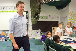 © Licensed to London News Pictures. 01/05/2014. Surbiton, UK Deputy Prime Minister Nick Clegg visits Lime Tree Primary School in Surbiton today 1st May 2014. Whilst there he took part in a painting, phonics and maths projects with school children. Photo credit : Stephen Simpson/LNP