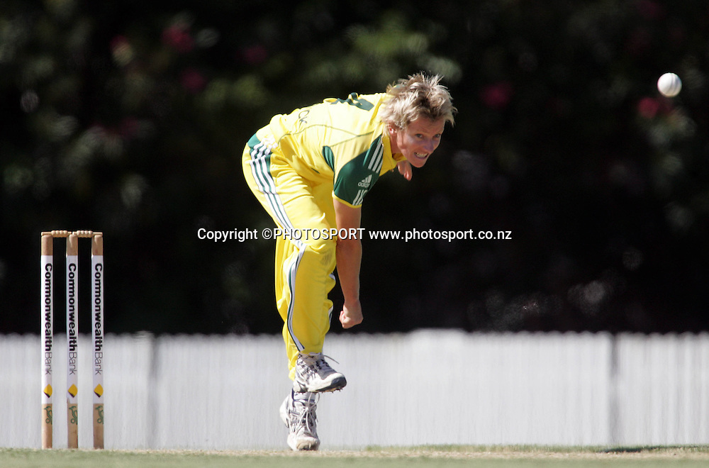 Australia's Cathryn Fitzpatrick bowls during the first ODI Rose Bowl cricket match between the White Ferns and Australia at Allan Border Field, Brisbane, Australia, on Friday 20 October 2006. Australia won the match by 2 with a total of 201. Photo: Renee McKay/PHOTOSPORT<br />