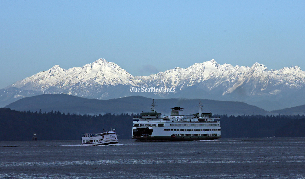 Range The Seattle Store ~ Photo of ferry and mountains seattle times store