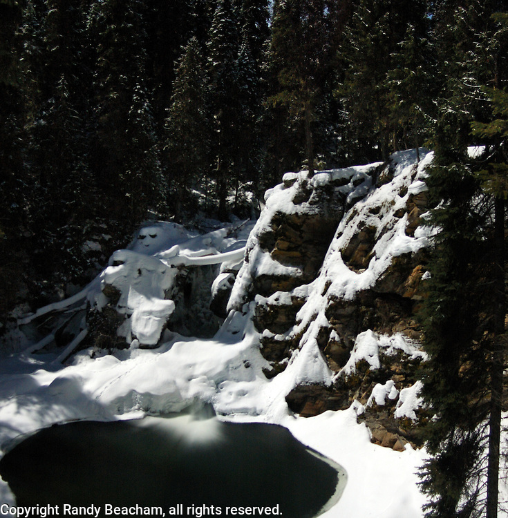 West Fork Falls at night. West Fork Yaak River in the Yaak Valley. Purcell Mountains, northwest Montana.