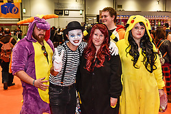 Cosplay enthusiasts attending the MCM London Comic Con at the Excel centre.