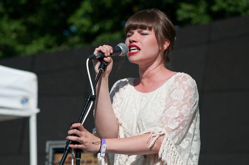 Deidre Muro of Savoir Adore performs at Bunbury Music Festival at Sawyer Point in Cincinnati, OH on July 14, 2013.