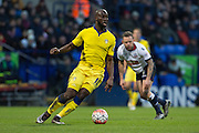 Souleymane Doukara of Leeds United in action during the The FA Cup fourth round match between Bolton Wanderers and Leeds United at the Macron Stadium, Bolton, England on 30 January 2016. Photo by Simon Brady.