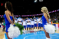 Players of France listening to the national anthemn during final basketball game between National basketball teams of Spain and France at FIBA Europe Eurobasket Lithuania 2011, on September 18, 2011, in Arena Zalgirio, Kaunas, Lithuania. (Photo by Vid Ponikvar / Sportida)